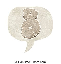 retro speech bubble cartoon stone number eight - freehand...