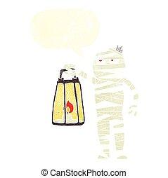 retro speech bubble cartoon mummy - freehand drawn retro...