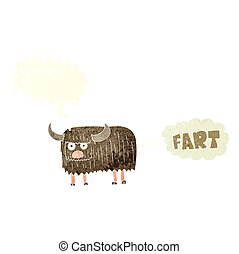 retro speech bubble cartoon hairy cow farting - freehand...