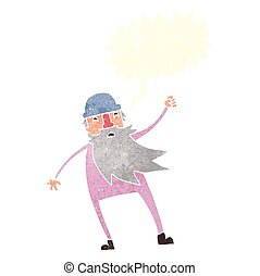 retro speech bubble cartoon old man in thermal underwear -...