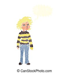retro speech bubble cartoon chilled out girl - freehand...