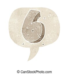 retro speech bubble cartoon stone number six - freehand...