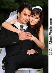 Gorgeous Wedding Couple - Beautiful young happy wedding...