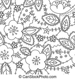 Coloring antistress with apple flowers - Vector coloring...