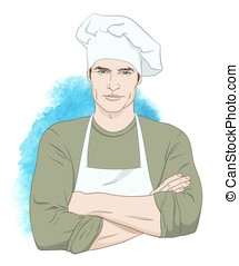 Handsome man chef vector - Cheerful handsome man chef...