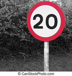 Twenty Speed Limit Sign - Red circular twenty miles per hour...