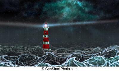 Dark Sea and Lighthouse - Lighthouse illuminated at night...