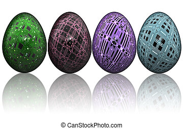 Easter Eggs in Line - Colored decorative Easter eggs in line...