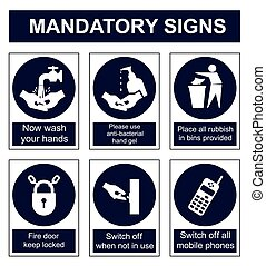Mandatory Safety sign - Mandatory safety sign set isolated...