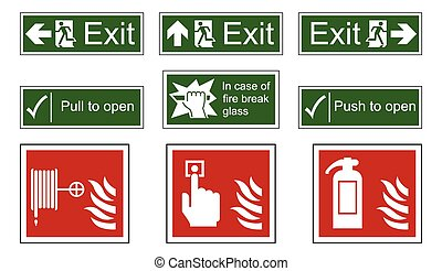 Fire and Emergency Exit Signs - Fire and emergency exit sign...