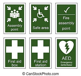 First Aid and Assembly Signs - First aid and assembly sign...