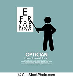 Optician Pointing To Snellen Chart - Optician Pointing To...