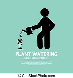 Plant Watering With Watering Can.