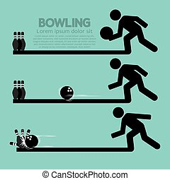 Steps Of Playing Bowling Symbol.