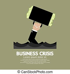 Business Crisis Concept. - Plentiful Money Briefcase Of A...