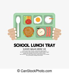 Hand Holding A School Lunch Tray.