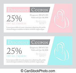 Fashion discount coupon with line illustration of handbag on...