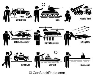 Military Vehicles Transportation - Vector set of military...