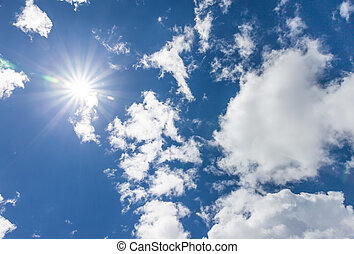 Clear, blue sky and sun in summer in the mountains
