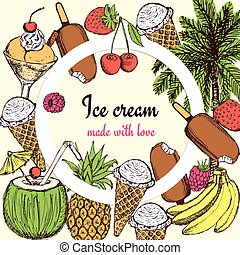 Ice cream and sweets poster in vintage style, vector