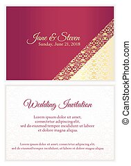 Red wedding invitation with luxury golden lace in corner and...