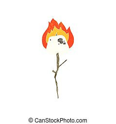 retro cartoon toasted marshmallow - freehand retro cartoon...