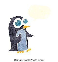 retro speech bubble cartoon penguin with big eyes - freehand...