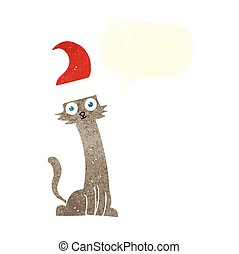 retro speech bubble cartoon cat in christmas hat - freehand...