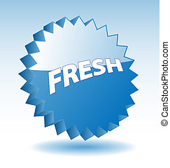 3D blue vector star badge with word fresh for marketing, promotion, advertisement.