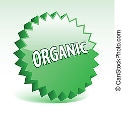 3D vector star elements with word organic for marketing, promotion, advertisement.