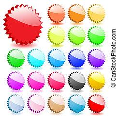 perfecto, Añadir, Conjunto, iconos, texto,  vector, sombras, estrellas, o,  3D