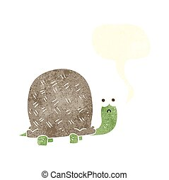 retro speech bubble cartoon sad turtle - freehand drawn...