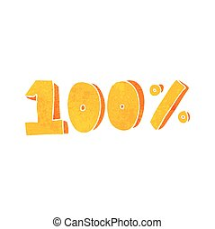 retro cartoon 100 per cent symbol - freehand retro cartoon...