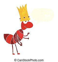 retro speech bubble cartoon ant queen - freehand drawn retro...