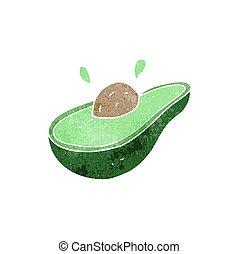 retro cartoon avocado - freehand retro cartoon avocado