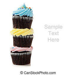 Pastel cupcakes on a white background