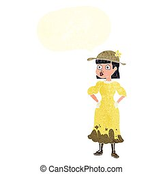 retro speech bubble cartoon woman in muddy dress - freehand...