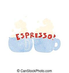 retro cartoon espresso - freehand retro cartoon espresso