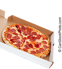 Pepperoni pizza in box on a white background