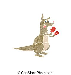 retro cartoon boxing kangaroo - freehand retro cartoon...