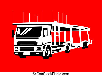 car transporter truck hauler - illustration of a car...