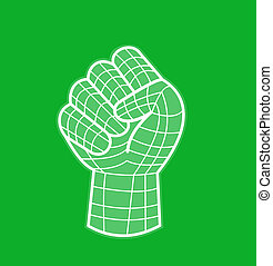 clenched fist line drawing grid - illustration of a clenched...