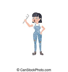 retro cartoon female plumber - freehand retro cartoon female...