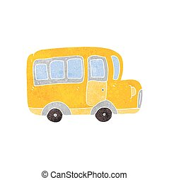 retro cartoon yellow school bus - freehand retro cartoon...