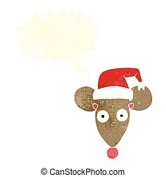 retro speech bubble cartoon mouse in christmas hat -...