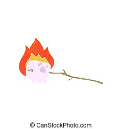 retro cartoon burning marshmallow - freehand retro cartoon...