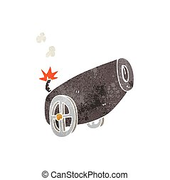 retro cartoon cannon - freehand retro cartoon cannon