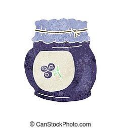 retro cartoon blueberry jam - freehand retro cartoon...