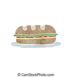 retro cartoon sub sandwich - freehand retro cartoon sub...