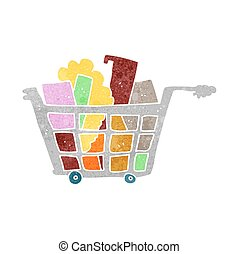 retro cartoon shopping trolley - freehand retro cartoon...